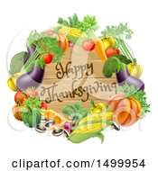Clipart Of A Wooden Happy Thanksgiving Sign Framed In Produce Vegetables Royalty Free Vector Illustration