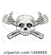 Clipart Of A Cartoon Human Skull And Crossbone Arms With Thumbs Up Royalty Free Vector Illustration by AtStockIllustration