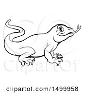 Clipart Of A Lineart Komodo Dragon Lizard Royalty Free Vector Illustration