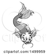 Clipart Of A Black And White Woodcut Swimming Koi Fish Royalty Free Vector Illustration