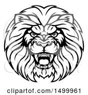 Clipart Of A Black And White Aggressive Male Lion Head Royalty Free Vector Illustration