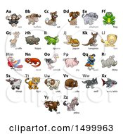 Clipart Of A Chart Of Animals And Alphabet Letters Royalty Free Vector Illustration by AtStockIllustration