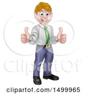Clipart Of A Happy Caucasian Business Man Giving Two Thumbs Up Royalty Free Vector Illustration by AtStockIllustration