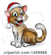 Happy Brown Cat Wearing A Christmas Santa Hat Sitting And Facing Left