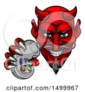Clipart Of A Grinning Evil Red Devil Holding A Video Game Controller Royalty Free Vector Illustration