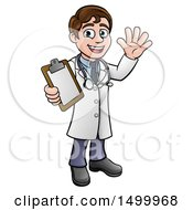 Clipart Of A Cartoon Friendly Brunette White Male Doctor Holding A Clipboard Chart Royalty Free Vector Illustration by AtStockIllustration