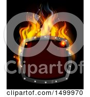 Poster, Art Print Of 3d Fiery Hot Shield On Black