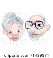 Clipart Of A Cartoon Happy Senior Citizen Caucasian Couple Royalty Free Vector Illustration