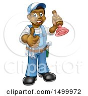 Full Length Happy Black Male Plumber Holding A Plunger And Giving A Thumb Up