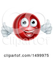 Clipart Of A 3d Cricket Ball Mascot Character Giving Two Thumbs Up Royalty Free Vector Illustration by AtStockIllustration