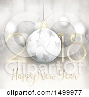 Clipart Of A Happy New Year 2018 Design With A Bauble Royalty Free Vector Illustration