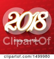 Clipart Of A Happy New Year 2018 Design Over Red Royalty Free Vector Illustration