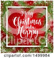 Clipart Of A Merry Christmas And A Happy New Year Greeting In A Border Of Branches And Snowflakes On Red Royalty Free Vector Illustration