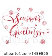Clipart Of A Red Seasons Greetings Text Design With Stars And Snowflakes Royalty Free Vector Illustration