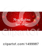 Clipart Of A Red Merry Christmas And Happy New Year Banner With Baubles Royalty Free Vector Illustration