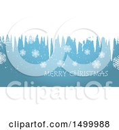 Clipart Of A Red Merry Christmas Banner With Snowflakes And Icicles Royalty Free Vector Illustration by KJ Pargeter