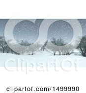 Clipart Of A 3d Snowy Winter Landscape With Trees Royalty Free Illustration