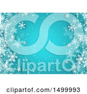 Clipart Of A Blue Christmas Background With White Winter Snowflakes Royalty Free Vector Illustration