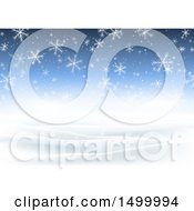 Clipart Of A Blue Christmas Background With Falling Winter Snowflakes Royalty Free Vector Illustration