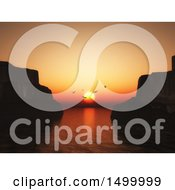 Clipart Of A 3d Bay At Sunset With Cliffs And Seagulls Royalty Free Illustration