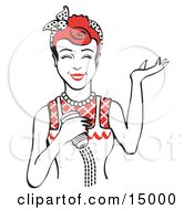 Happy Red Haired Woman Using A Salt Shaker While Cooking Clipart Illustration by Andy Nortnik