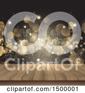 3d Wood Surface With Golden Flares And Stars