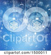 Blue Christmas Snow Background With Flares And Baubles