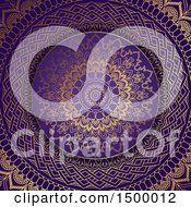 Clipart Of A Gold And Purple Mandala Background Royalty Free Vector Illustration
