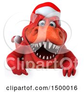 Poster, Art Print Of 3d Red Christmas T Rex Dinosaur On A White Background