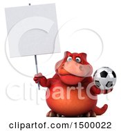 3d Red T Rex Dinosaur Holding A Soccer Ball On A White Background