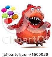 Poster, Art Print Of 3d Red T Rex Dinosaur Holding Messages On A White Background