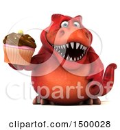 Poster, Art Print Of 3d Red T Rex Dinosaur Holding A Cupcake On A White Background