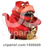 3d Red T Rex Dinosaur Playing A Saxophone On A White Background
