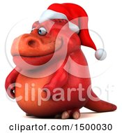 Poster, Art Print Of 3d Red T Rex Christmas Dinosaur On A White Background