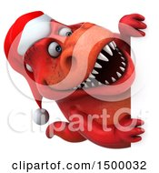 3d Red T Rex Christmas Dinosaur On A White Background