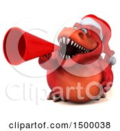 Poster, Art Print Of 3d Red Christmas T Rex Dinosaur Using A Megaphone On A White Background