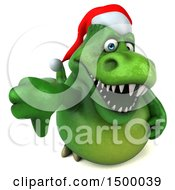 Clipart Of A 3d Green Christmas T Rex Dinosaur On A White Background Royalty Free Illustration