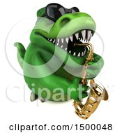3d Green T Rex Dinosaur Playing A Saxophone On A White Background