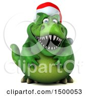 Clipart Of A 3d Green Christmas T Rex Dinosaur On A White Background Royalty Free Illustration by Julos