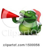 Clipart Of A 3d Green Christmas T Rex Dinosaur Using A Megaphone On A White Background Royalty Free Illustration