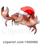 3d Christmas Crab On A White Background