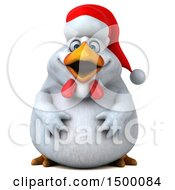 Clipart Of A 3d Chubby White Christmas Chicken On A White Background Royalty Free Illustration