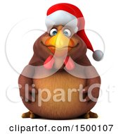 Clipart Of A 3d Chubby Brown Christmas Chicken On A White Background Royalty Free Illustration by Julos