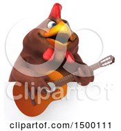 3d Chubby Brown Chicken Holding A Guitar On A White Background