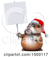 3d Christmas Bulldog Holding A Blank Sign On A White Background