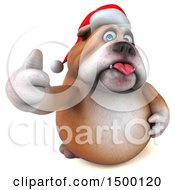 Clipart Of A 3d Christmas Bulldog Giving A Thumb Up On A White Background Royalty Free Illustration