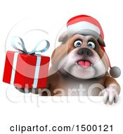 Clipart Of A 3d Christmas Bulldog Holding A Gift On A White Background Royalty Free Illustration