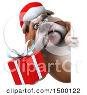 3d Christmas Bulldog Holding A Gift On A White Background