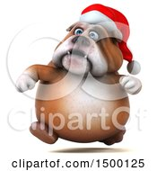 3d Christmas Bulldog Running On A White Background