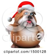 3d Christmas Bulldog Giving A Thumb Down On A White Background